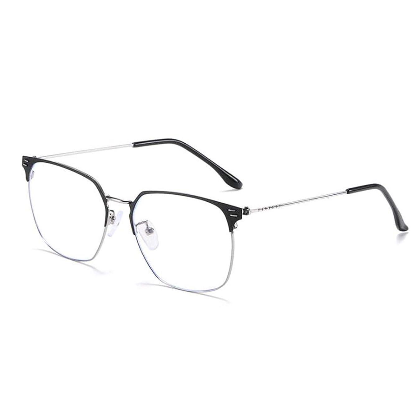 HHL Non-Prescription Anti Blue Light Glasses,Business Metal Frame Protect Eyes,Reading Eyewear,Men (Color : Dark Grey)