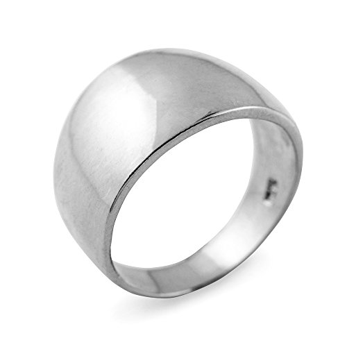 Modern Contemporary Rings Cigar Ring Band in High Polish 925 Sterling Silver (Size 6)
