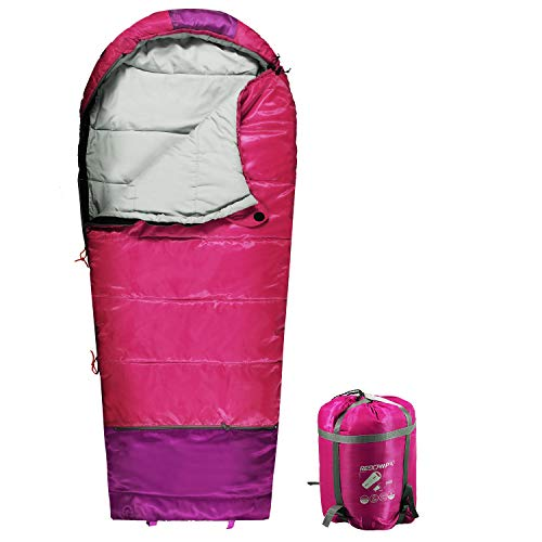 REDCAMP Kids Mummy Sleeping Bag for Camping Zipped Small, 32 Degree All Season Cold Weather Fit Boys,Girls & Teens (Pink with 3.3lbs Filling)