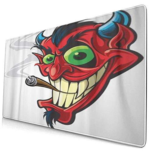 HUAYEXI Alfombrilla Gaming,Cabeza Cara Roja Diablo Fumando Personaje Dibujos Animados Cigarro Sonrisa,con Base de Goma Antideslizante,750×400×3mm