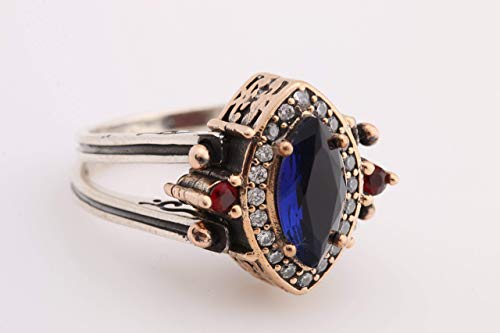 Turkish Handmade Jewelry Reversible Marquise Cut Shape Sapphire Ruby Jade 925 Sterling Silver Ring All Size