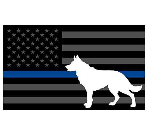 Thin Blue Line K9 Decal Vinyl Sticker Tactical Police Law Enforcement Reflective 3' x 5' Decal Vinyl Sticker 3'