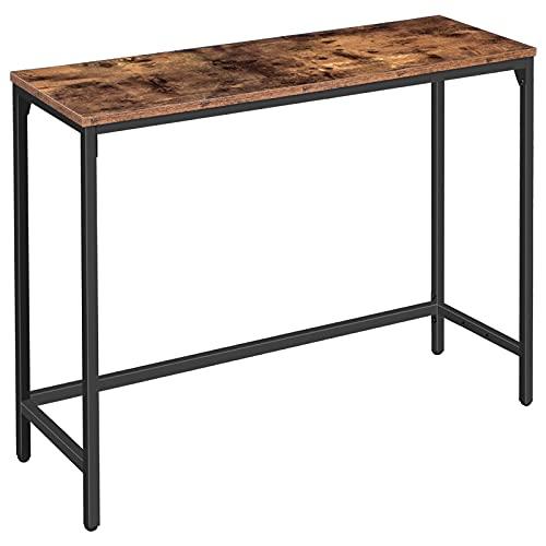 HOOBRO Table Console, Table d'entrée, Table d'appoint, avec Barre de Support Réglable, Bout de Canapé, 100 x 30 x 72 cm, Cadre en Métal, pour Salon, Bureau à Domicile, Marron Rustique EBF30XG01