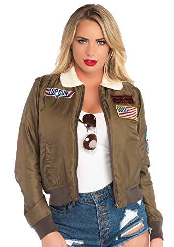 Leg Avenue Women's Top Gun Costume Bomber Jacket, Khaki, Medium
