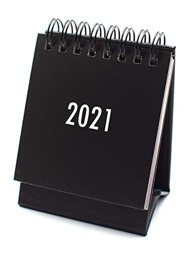 "2021 Mini Desk Calendar, Standing Flip Office Desktop Calendar,2.75"" x 3.93"", Stand up Desk Calendar with Strong Twin-Wire Binding,Perfect for Daily Schedule Planner (Black-Mini)"