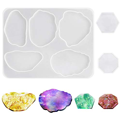 AIFUDA - Moldes de silicona para posavasos de resina (3 unidades), diseño de ágata epoxi para tazas y manualidades, decoración del hogar y soportes de joyería