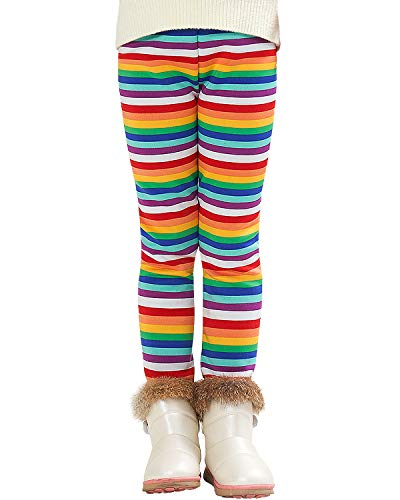 Adorel Mädchen Leggings Winter Dick Gefüttert Hosen Regenbogen Streifen 128 (Herstellergröße 140)