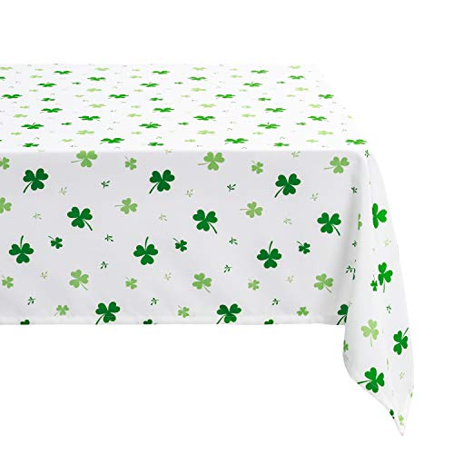 Hiasan Waterproof St Patricks Day Tablecloth Square, 52 x 52 Inch - Washable Shamrock Fabric Table Cloth for Spring and Outdoor Use