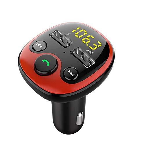 Surfmall Bluetooth FM Transmitter 5.0 KFZ Radio Adapter Auto Ladegerät Autoradio Autoladegerät LED Display Freisprecheinrichtung Car Kit mit 2 USB Unterstützt TF Karte und USB Stick
