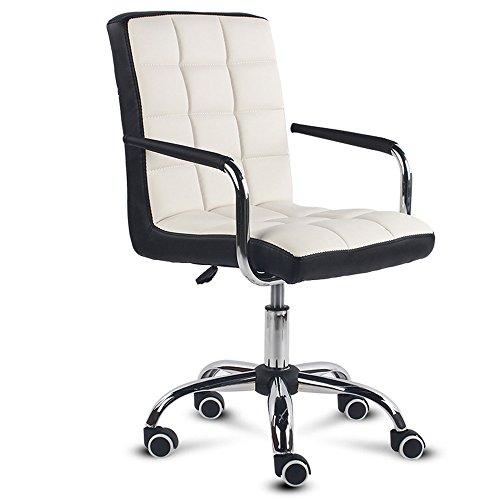 Accueil simple chaise de bureau en forme d'arc, chaise d'ancrage de dossier, chaise d'étudiant, chaise de dortoir, chaise d'ordinateur (Couleur : Noir+blanc)