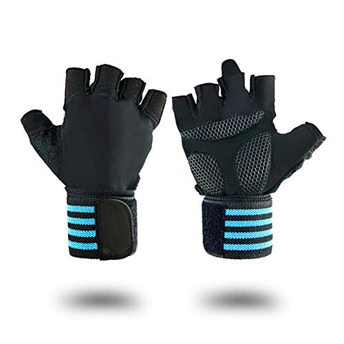 chunnron Guantes Fitness Mujer Guantes Gym Guantes de Entrenamiento Gimnasio Guantes Hombre Ejercicio Guantes de Las Mujeres Gimnasio Correas Blue,X-Large