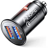 AINOPE USB Car Charger, [Dual QC3.0 Port] 36W/6A [All Metal] Fast Car Charger Adapter Mini Cigarette Lighter Usb Charger Quick Charge Compatible with iPhone 11 pro/11/ x/8, Note 9/Galaxy S10/S9