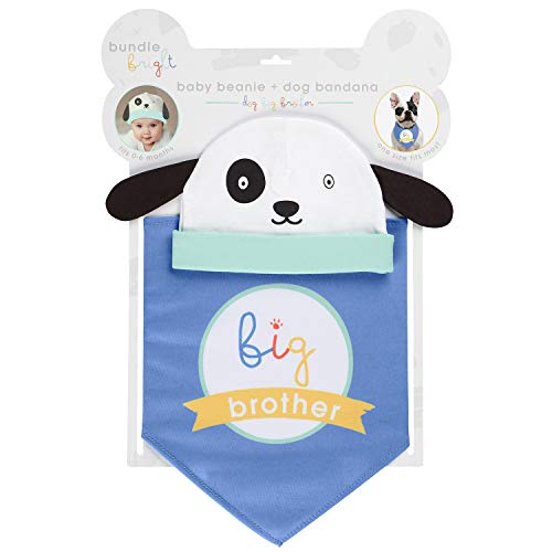 C.R. Gibson Blue ''Big Brother'' Dog and Baby Beanie and Bandanna 2 Piece Set, Beanie, 0-6 Months