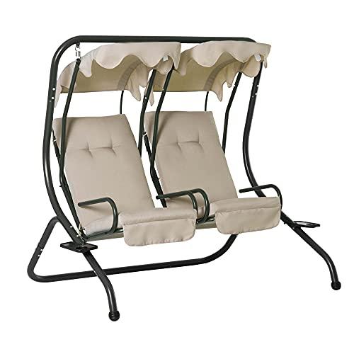 sedie da giardino outsunny Outsunny Dondolo da Giardino 2 Posti con Sedute Separate e Tetto Parasole