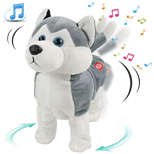 Houwsbaby Crazy Rock & Roll Husky Headbanging Dog Musical Plush Toy Interactive Animated Turning Circle Twerking Stuffed Puppy Gift for Kids Girls Boys, Gray, 10''