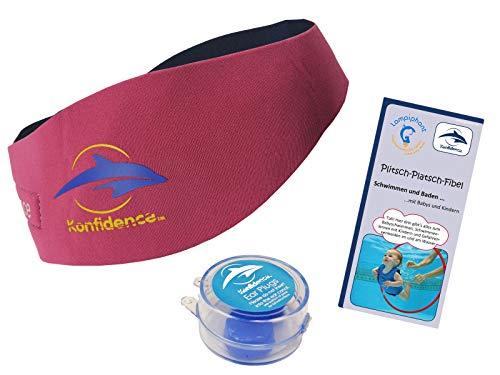 Lampiphant® + Konfidence Aquaband: Neoprenstirnband mit Silikon-Ohrstöpseln und Plitsch-Platsch-Fibel, Baby, Pink