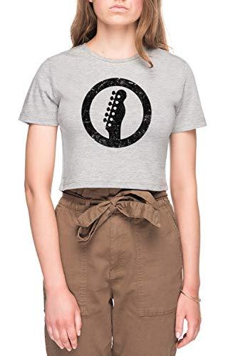 Telecaster Kop, Wit Dames Bijsnijden T-shirt Tee Grijs Women's Crop T-shirt Tee Grey