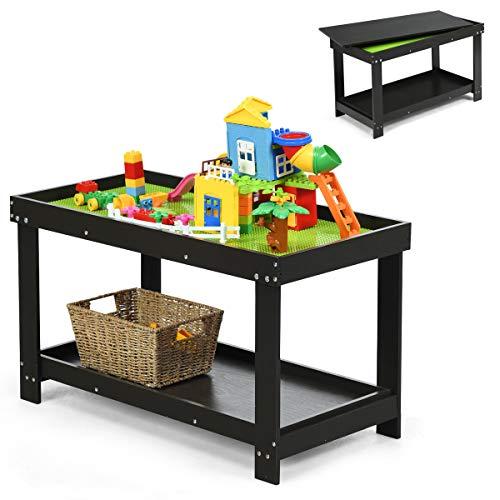COSTWAY Kinder Spieltisch mit Ablage und verstecktem Staufach, Bausteintisch aus Massivholz, Kinder Schreibtisch und Zeichentisch, Kindertisch zum Zeichnen, Lesen, Basteln (Braun)