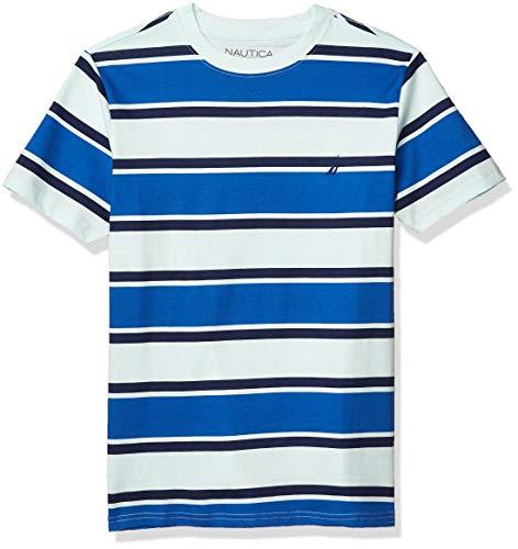 Nautica Boys' Short Sleeve Wide Striped Crew Neck T-Shirt, Light Aqua, Small (8)