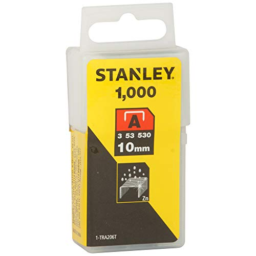 STANLEY Grapas Tipo A 10 mm-1000 Unidades, 1-TRA206T, Plata, 10 mm, Set de 1000 Piezas