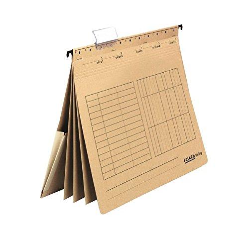 Original Falken 5er Pack Mehrfach-Hängehefter UniReg. Made in Germany. Aus Recycling-Karton braun, DIN A4, kaufmännische Heftung, 3 Trennblätter, 4 Heftungen, Innentasche am Rücken
