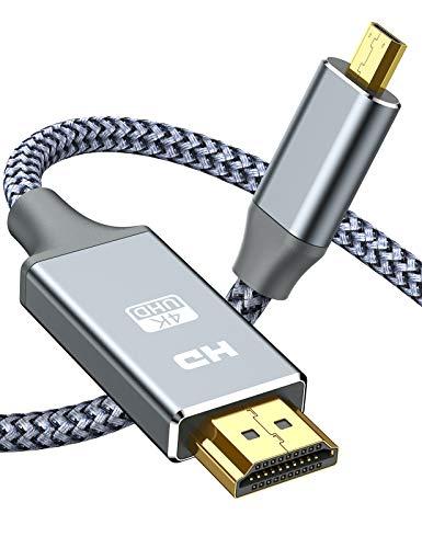 Cavo Micro HDMI a HDMI 1.8M - Snowkids 4K Micro HDMI 60Hz Guscio in Nylon intrecciato in alluminio Plug-Play 2K 165Hz Compatibile con Gopro Hero/Camera,per standard HDMI2.0a,1.4a