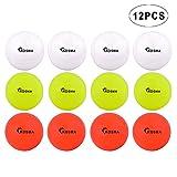 Kosma - Juego de 12 pelotas de hockey lisas   Pelotas de entrenamiento de PVC para deportes al aire libre – 4 unidades cada uno blanco, amarillo y naranja