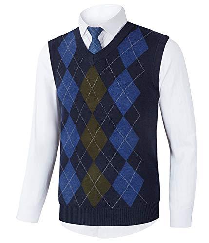 Homovater Mens Sleeveless Sweater V-Neck Knitted Vest Golf Tank Top Slim Fit Knitwear Pullover Argyle Navy Blue