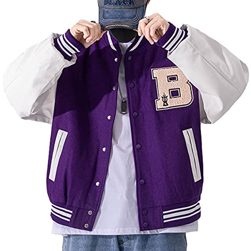 Moshtashio Giacca Uomo da Baseball Varsity Jacket Vintage Cappotto Unisex Lettera Felpa Motociclista Giubbotto da Coppia (Viola, S)
