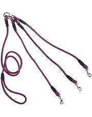 Correa de Cuerda, Correa de Acoplamiento Triple para Perros con Mango Suave de Nailon para Caminar 3 Perros en el Exterior, Rojo y Azul