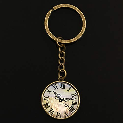 MNBVC Uhr Taschenuhr Schlüsselbund Glas Cabochon Autozubehör Unisex Schlüsselbund Ring