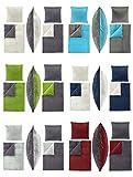 Winter UNI-Wende Cashmere Touch Bettwäsche 135x200 cm, ähnlich Nicky-Teddy-Corals Fleece, in verschiedenen Designs - 4 tlg. Set 2x135x200 + 2x80x80 cm Caschmere Bettwäsche - Anthrazit/Bordeaux