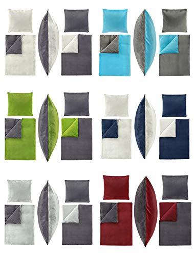 Winter UNI-Wende Cashmere Touch Bettwäsche 135x200 cm, ähnlich Nicky-Teddy-Corals Fleece, in verschiedenen Designs - 2 tlg. Set 1x135x200 + 1x80x80 cm Caschmere Bettwäsche - Blau/ wollweiss