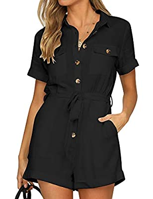 GRAPENT Women's Black Casual Short Sleeves Button Down Pocket Belted Jumpsuits Rompers Size Medium (Fits US 8-10)
