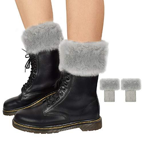 Umipubo, scaldamuscoli da donna per stivali corti, elasticizzati, morbidi, invernali, in finta pelliccia Light Grey Taglia unica