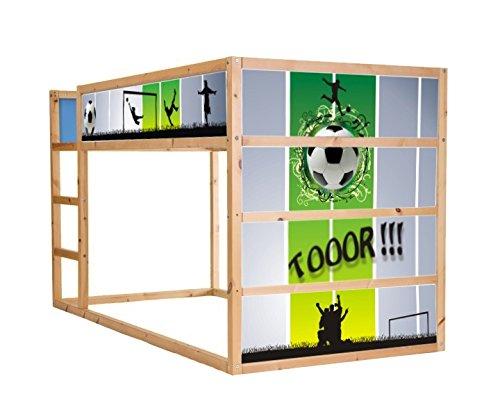 Stikkipix Fussball möbelfolie självhäftande/dekal – IM05 – lämplig för barnkammaren högsäng KURA från IKEA – möbler ingår ej