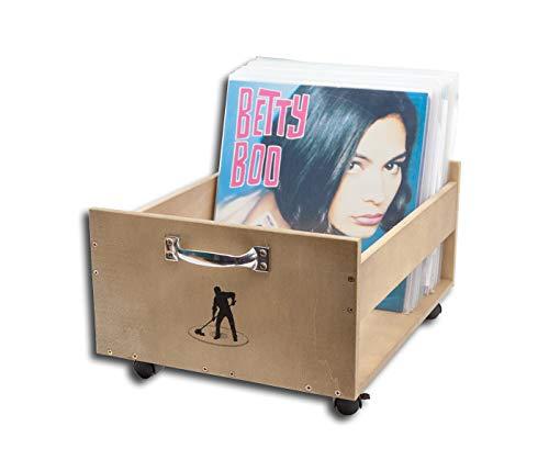 Protected Schallplatten Holzbox mit Rollen