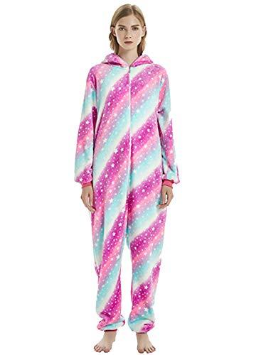 Amenxi Tier Onesie Pyjama Cosplay Kostüme Schlafanzug Erwachsene Unisex Animal Tieroutfit tierkostüme Jumpsuit Nachtwäsche (Regenbogen-Stern, Körpergröße 145-155cm (S))