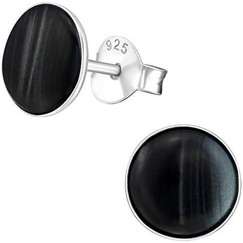 EYS JEWELRY Pendientes de mujer redondos de plata de ley 925 y nácar, 7 mm, en estuche de joyerí