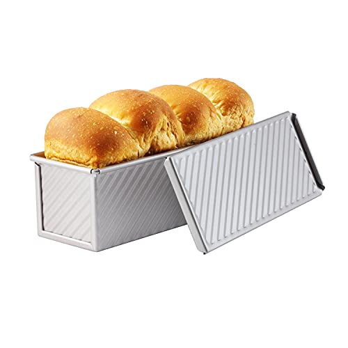 CHEFMADE Mini Pullman Loaf Pan with Lid, 0.66Lb Dough Capacity Non-Stick Rectangle Corrugated Toast Box for Oven Baking 2.8″ x 8.1″x 2.8″(Champagne Gold)