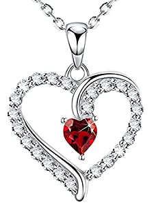 """Valentine's Day Jewelry for Wife Birthday Gifts Women January Birthstone Created Garnet Necklace for Mom Daughter Love Heart Pendant Teen Girls for Her Sterling Silver 20"""" Chain from Dorella"""