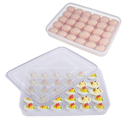 77L Egg Container, (Set of 2) Refrigerator Deviled Egg Tray Carrier with Lid for 60 Eggs – Plastic Fridge Stackable Portable Devil Egg Holder Dispenser for Protect and Keep Fresh