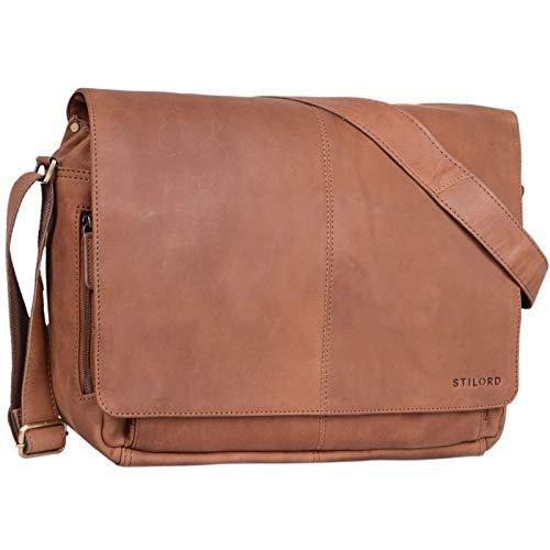 STILORD \'Alex\' Vintage Ledertasche Männer Frauen Businesstasche zum Umhängen 15,6 Zoll Laptoptasche Aktentasche Unitasche Umhängetasche Leder, Farbe:Sattel - braun
