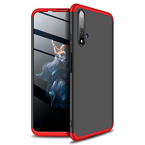AILZH HandyHülle kompatibel für Huawei Honor 20 Hülle 360 Grad PC Hartschale Anti-Schock Anti-Kratz Schutzhülle Stoßdämpfung Stoßfänger Stoßfest Shockproof Bumper Cover Case matt(Rot schwarz) - 3