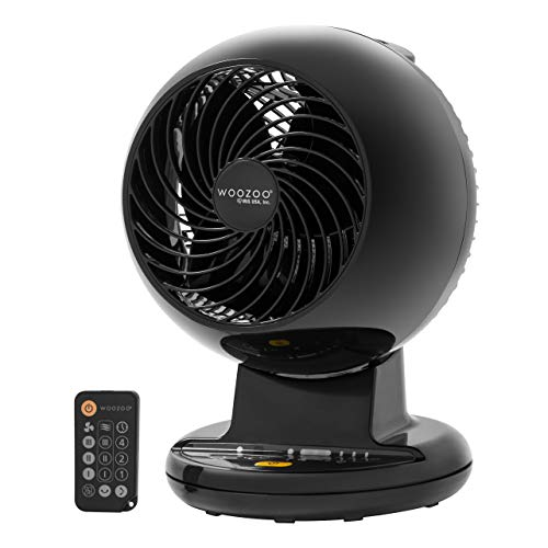 """Woozoo Remote Controlled Compact Oscillating Circulating Fan, 5.5"""", Black C15T"""