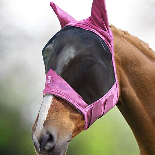Harrison Howard CareMaster Pro Luminous Maschera da mosca del cavallo Standard con le orecchie Protezione UV per cavallo-Rosa chiaro (L)