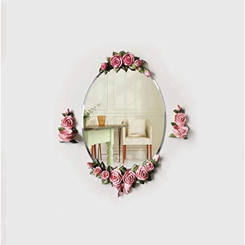 GAXQFEI Maison Décoration Mural Miroir Fille Maquillage Miroir, Tculpture Tridimensionnelle Fleurs Miroir Décoratif Rétro Créativité Miroir Mural Art Galerie Organise Miroir Art Miroir Maison Entrée