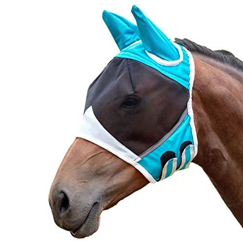 XuBa - Máscara antimosquitos para caballo con oreja, transpirable, antimosquitos, azul, Medium