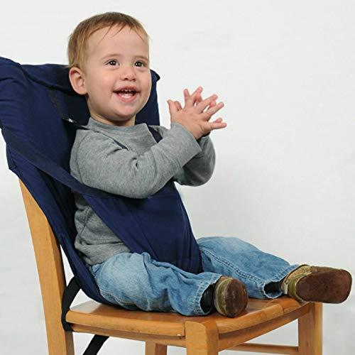 HMG Portable del bebé Asiento niños Silla Plegable de Viaje Lavable Infantil Comedor del cinturón de Seguridad de la Cubierta (Rojo) (Color : Blue)