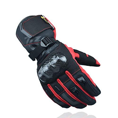 MADBIKE RACING EQUIPMENT Guantes de Moto de Invierno Guantes de Moto de protección de Fibra de Carbono con Pantalla táctil Guantes Deportivos (Rojo, XL)